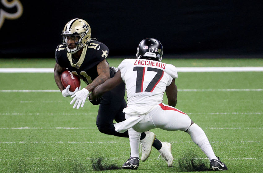 NEW ORLEANS, LOUISIANA - NOVEMBER 22: Deonte Harris #11 of the New Orleans Saints carries the ball as Olamide Zaccheaus #17 of the Atlanta Falcons defends in the first quarter at Mercedes-Benz Superdome on November 22, 2020 in New Orleans, Louisiana. (Photo by Chris Graythen/Getty Images)