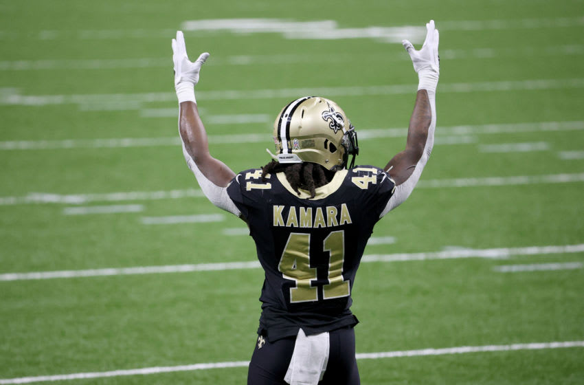 NEW ORLEANS, LOUISIANA - NOVEMBER 22: Alvin Kamara #41 of the New Orleans Saints celebrates his 3 yard touchdown run in the second quarter against the Atlanta Falcons at Mercedes-Benz Superdome on November 22, 2020 in New Orleans, Louisiana. (Photo by Chris Graythen/Getty Images)