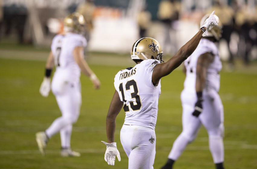PHILADELPHIA, PA - DECEMBER 13: Michael Thomas #13 of the New Orleans Saints reacts against the Philadelphia Eagles at Lincoln Financial Field on December 13, 2020 in Philadelphia, Pennsylvania. (Photo by Mitchell Leff/Getty Images)