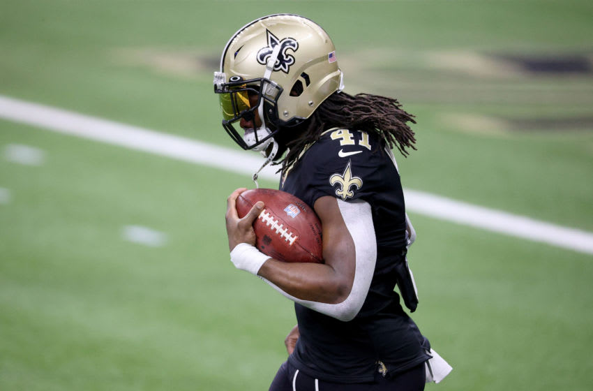 NEW ORLEANS, LOUISIANA - JANUARY 10: Alvin Kamara #41 of the New Orleans Saints warms up ahead of the NFC Wild Card Playoff game against the Chicago Bears at Mercedes Benz Superdome on January 10, 2021 in New Orleans, Louisiana. (Photo by Chris Graythen/Getty Images)