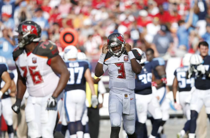 TAMPA, FL - SEPTEMBER 13: Jameis Winston #3 of the Tampa Bay Buccaneers walks off the field after throwing his second interception in the first half against the Tennessee Titans at Raymond James Stadium on September 13, 2015 in Tampa, Florida. The Titans defeated the Bucs 42-14. (Photo by Joe Robbins/Getty Images)