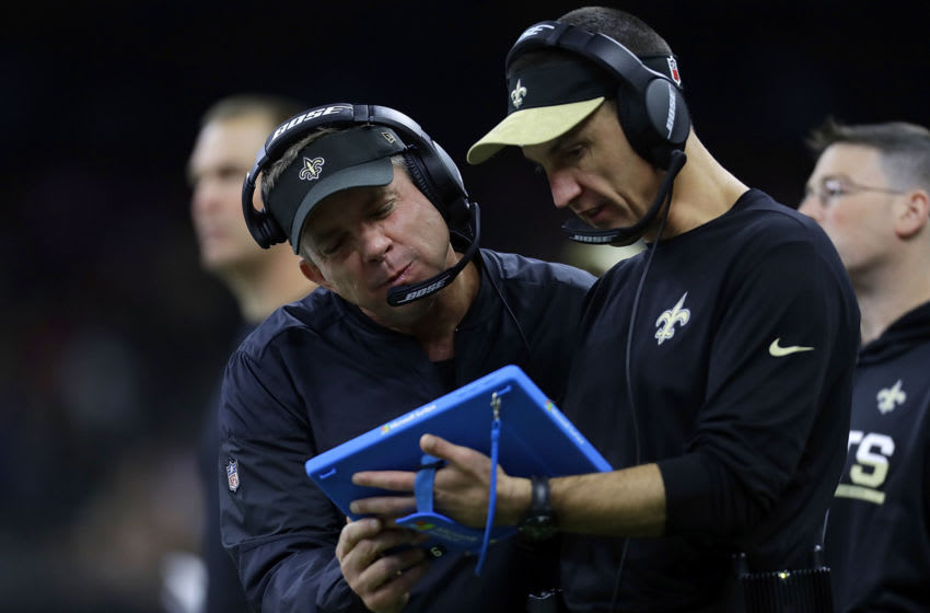 NEW ORLEANS, LA - OCTOBER 30: Head coach Sean Payton of the New Orleans Saints and defensive coordinator Dennis Allen use a Microsoft Surface during a game against the Seattle Seahawks at the Mercedes-Benz Superdome on October 30, 2016 in New Orleans, Louisiana. (Photo by Jonathan Bachman/Getty Images)