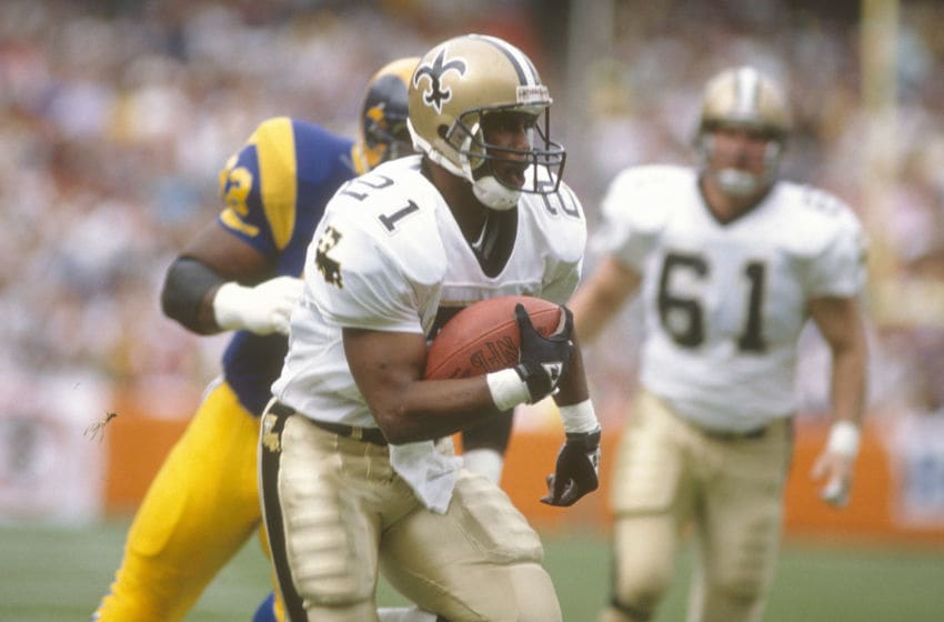 ANAHEIM, CA - OCTOBER 22: Dalton Hilliard #21 of the New Orleans Saints carries the ball against the Los Angeles Rams during an NFL football game October 22, 1989 at Anaheim Stadium in Anaheim, California. Hilliard played for the Saints from 1986-93. (Photo by Focus on Sport/Getty Images)