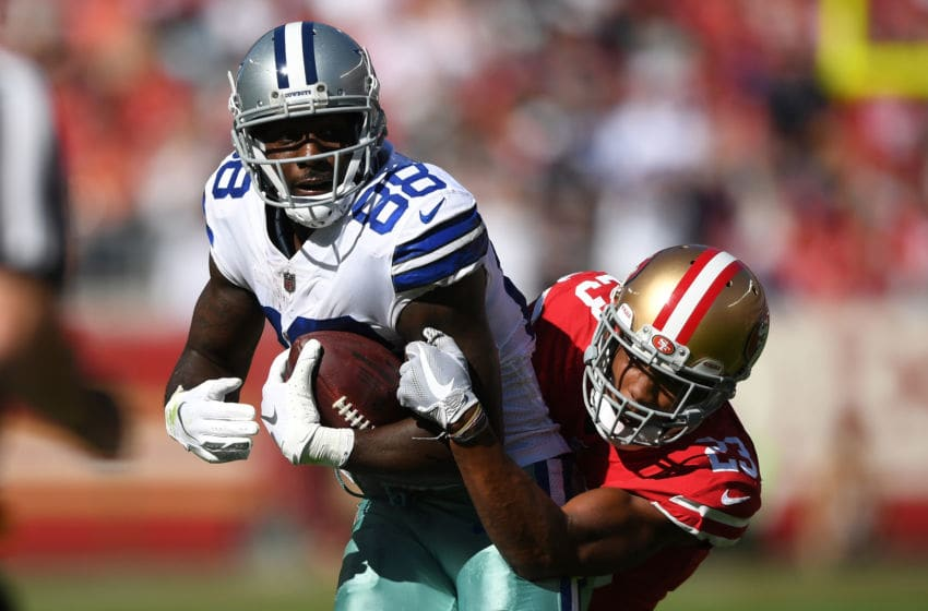 SANTA CLARA, CA - OCTOBER 22: Dez Bryant #88 of the Dallas Cowboys is tackled by Ahkello Witherspoon #23 of the San Francisco 49ers after a catch in their NFL game at Levi's Stadium on October 22, 2017 in Santa Clara, California. (Photo by Thearon W. Henderson/Getty Images)