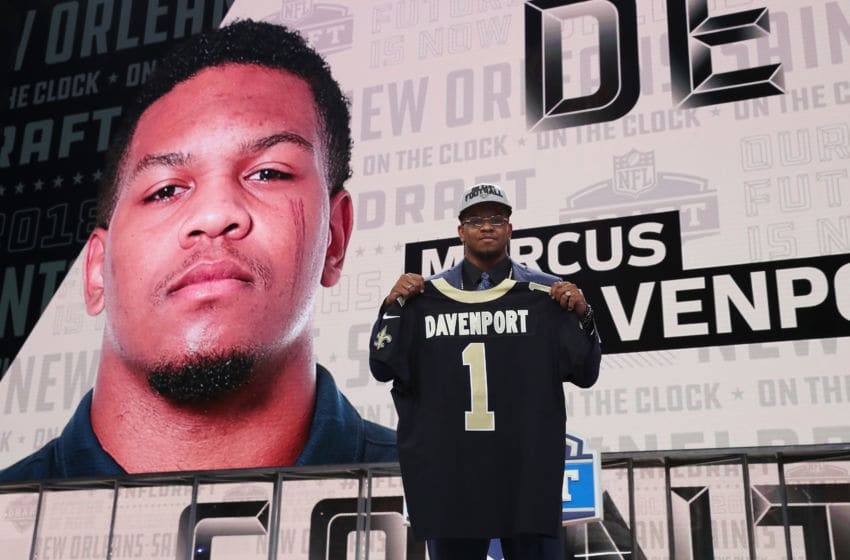 ARLINGTON, TX - APRIL 26: Marcus Davenport of UTSA poses after being picked #14 overall by the New Orleans Saints during the first round of the 2018 NFL Draft at AT&T Stadium on April 26, 2018 in Arlington, Texas. (Photo by Tom Pennington/Getty Images)