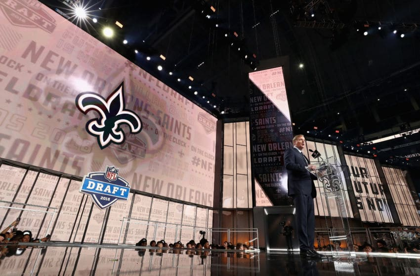 ARLINGTON, TX - APRIL 26: NFL Commissioner Roger Goodell announces a pick by the New Orleans Saints during the first round of the 2018 NFL Draft at AT&T Stadium on April 26, 2018 in Arlington, Texas. (Photo by Ronald Martinez/Getty Images)