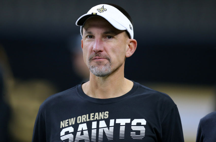 NEW ORLEANS, LOUISIANA - OCTOBER 06: Defensive coordinator Dennis Allen of the New Orleans Saints reacts during a game against the Tampa Bay Buccaneers at the Mercedes Benz Superdome on October 06, 2019 in New Orleans, Louisiana. (Photo by Jonathan Bachman/Getty Images)
