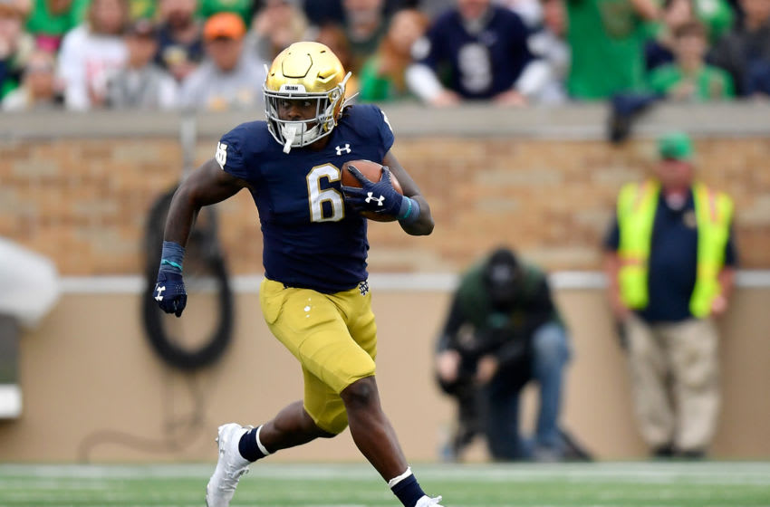 SOUTH BEND, INDIANA - OCTOBER 05: Tony Jones Jr. #6 of the Notre Dame Fighting Irish runs with the football against the Bowling Green Falcons at Notre Dame Stadium on October 05, 2019 in South Bend, Indiana. (Photo by Quinn Harris/Getty Images)
