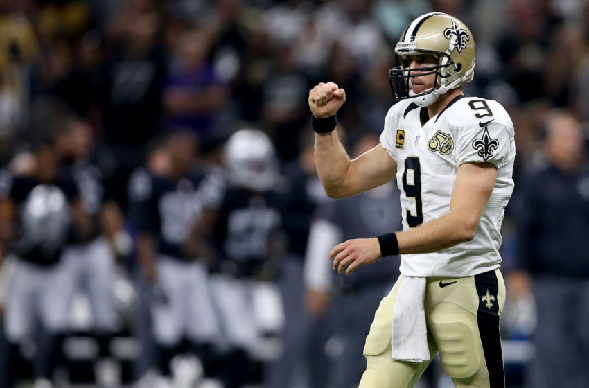 NEW ORLEANS, LA - SEPTEMBER 11: Drew Brees #9 of the New Orleans Saints reacts after throwing a touchdown pass during second quarter against the Oakland Raiders at the Mercedes-Benz Superdome on September 11, 2016 in New Orleans, Louisiana. (Photo by Sean Gardner/Getty Images)