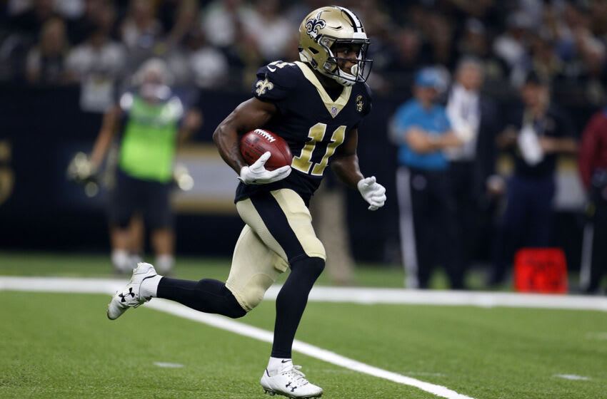 NEW ORLEANS, LA - SEPTEMBER 09: Tommylee Lewis #11 of the New Orleans Saints runs with the ball during a game against the Tampa Bay Buccaneers at the Mercedes-Benz Superdome on September 9, 2018 in New Orleans, Louisiana. (Photo by Jonathan Bachman/Getty Images)