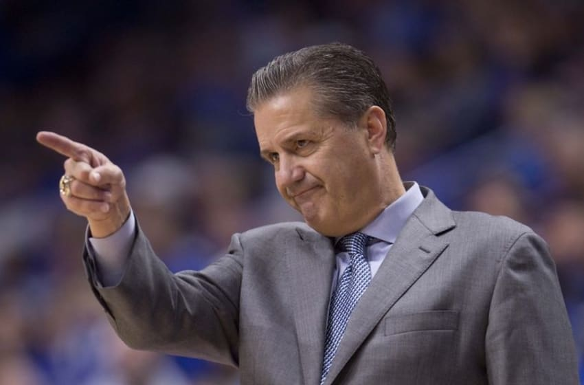 Nov 13, 2016; Lexington, KY, USA; Kentucky Wildcats head coach John Calipari gives instructions to his team during the game against the Canisius Golden Griffins in the second half at Rupp Arena. Kentucky defeated Canisius 93-69. Mandatory Credit: Mark Zerof-USA TODAY Sports