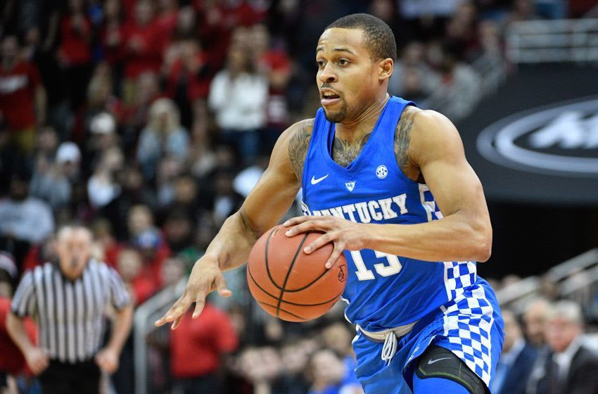 Dec 21, 2016; Louisville, KY, USA; Kentucky Wildcats guard Isaiah Briscoe (13) dribbles against the Louisville Cardinals during the first half at KFC Yum! Center. Louisville defeated Kentucky 73-70. Mandatory Credit: Jamie Rhodes-USA TODAY Sports