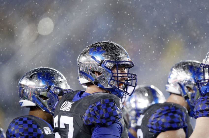 LEXINGTON, KY - OCTOBER 26: Landon Young #67 of the Kentucky Wildcats looks on against the Missouri Tigers as heavy rain falls in the second half of the game at Kroger Field on October 26, 2019 in Lexington, Kentucky. (Photo by Joe Robbins/Getty Images)