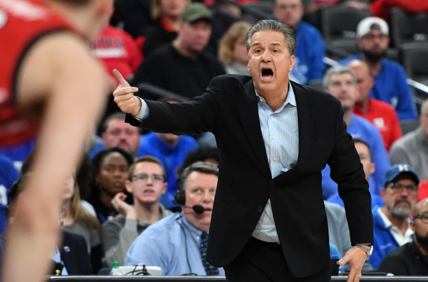 LAS VEGAS, NEVADA - DECEMBER 18: Head coach John Calipari of the Kentucky Wildcats yells to his players during their game against the Utah Utes during the annual Neon Hoops Showcase benefiting Coaches vs. Cancer at T-Mobile Arena on December 18, 2019 in Las Vegas, Nevada. The Utes defeated the Wildcats 69-66. (Photo by Ethan Miller/Getty Images)