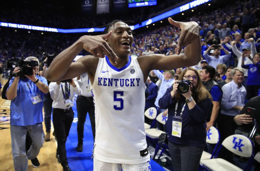 LEXINGTON, KENTUCKY - DECEMBER 28: Immanuel Quickley #5 of the Kentucky Wildcats celebrates after 78-70 OT win against the Louisville Cardinals at Rupp Arena on December 28, 2019 in Lexington, Kentucky. (Photo by Andy Lyons/Getty Images)