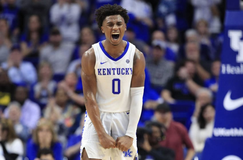 LEXINGTON, KENTUCKY - JANUARY 11: Ashton Hagans #0 of the Kentucky Wildcats celebrates in the 76-67 win against the Alabama Crimson Tide at Rupp Arena on January 11, 2020 in Lexington, Kentucky. (Photo by Andy Lyons/Getty Images)