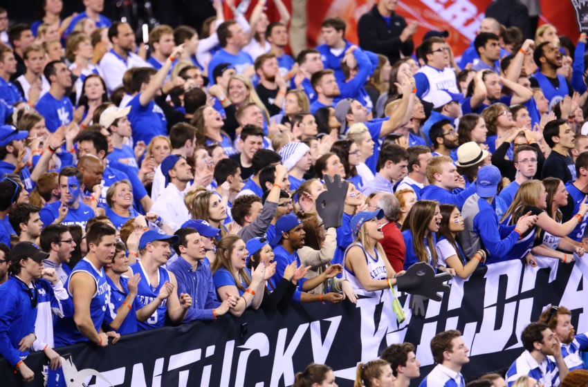 Kentucky fans at Lucas Oil Stadium in the 2015 final four. (Photo by Rey Del Rio/Getty Images)