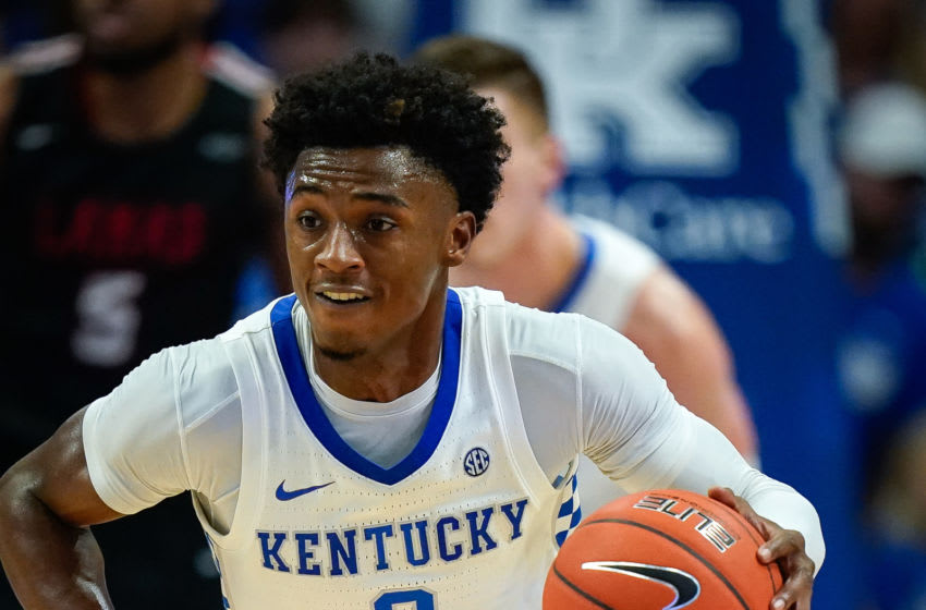 LEXINGTON, KENTUCKY - NOVEMBER 24: Ashton Hagans #0 of the Kentucky Wildcats dribbles the ball during the first half of the NCAA basketball game at Rupp Arena on November 24, 2019 in Lexington, Kentucky. (Photo by Bryan Woolston/Getty Images)