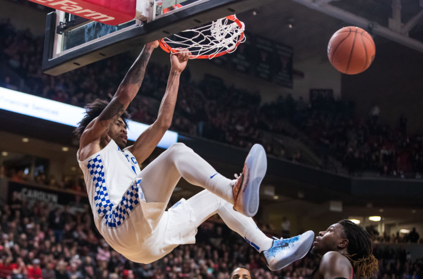 LUBBOCK, TEXAS - JANUARY 25: Forward Nick Richards #4 of the Kentucky Wildcats dunks the ball during the second half of the college basketball game against the Texas Tech Red Raiders on January 25, 2020 at United Supermarkets Arena in Lubbock, Texas. (Photo by John E. Moore III/Getty Images)