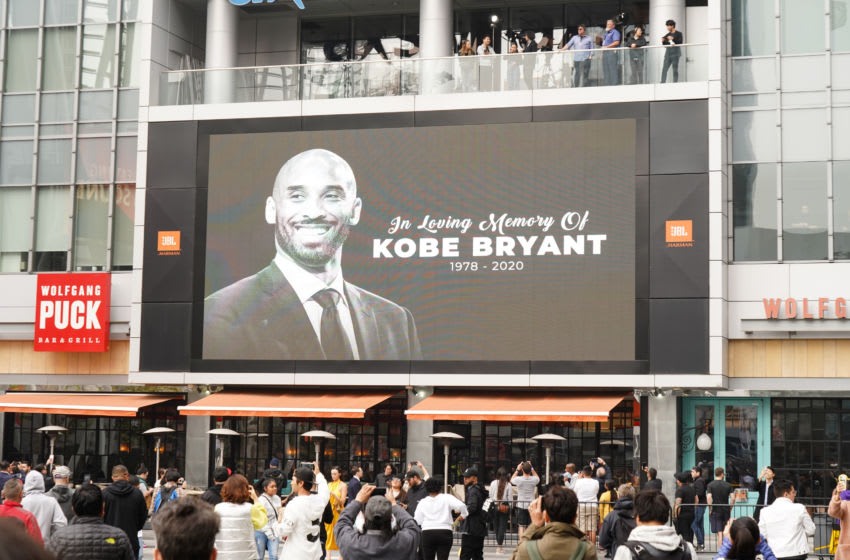 LOS ANGELES, CALIFORNIA - JANUARY 26: Former NBA player Kobe Bryant is remembered outside the 62nd Annual GRAMMY Awards at STAPLES Center on January 26, 2020 in Los Angeles, California. Bryant, 41, died today in a helicopter crash in near Calabasas, California. (Photo by Rachel Luna/Getty Images)