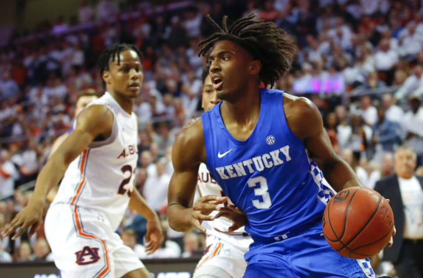 AUBURN, AL - FEBRUARY 01: Tyrese Maxey #3 of the Kentucky Wildcats drives to the basket during the first half of the game against the Auburn Tigers at Auburn Arena on February 1, 2020 in Auburn, Alabama. (Photo by Todd Kirkland/Getty Images)