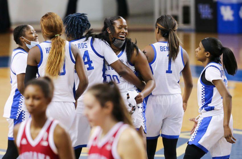 Kentucky Wildcats celebrate. Credit: Sam Upshaw Jr.-USA TODAY Sports