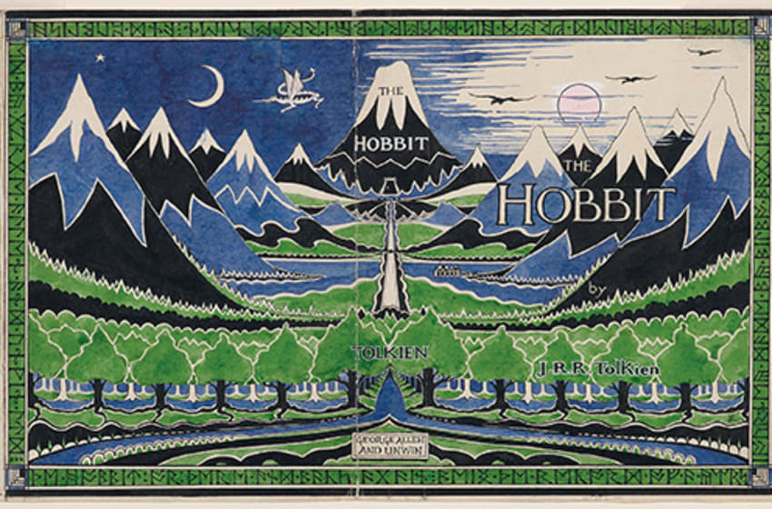 The final design of The Hobbit dust jacket. Tolkien not only illustrated The Hobbit but was also closely involved in its production process, designing the dust jacket and the binding. Tolkien's notes can be seen around the outside of the image. He was keen to use four colours: green, blue, black and red but this was too expensive and the publisher had the final say in the left-hand margin, 'Ignore red'. Shelfmark: MS. Tolkien Drawings 32 Credit: © The Tolkien Estate Limited 1937