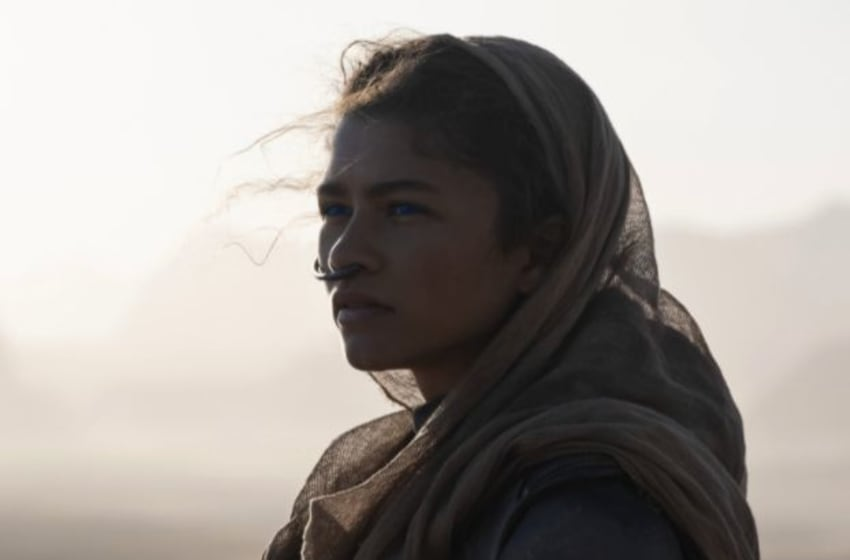 """ZENDAYA as Chani in Warner Bros. Pictures and Legendary Pictures' action adventure """"DUNE,"""" a Warner Bros. Pictures release. Courtesy of Warner Bros. Pictures and Legendary Pictures, Chiabella James"""