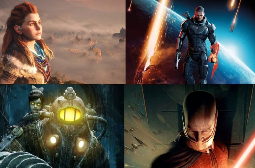 Image: Star Wars: Knights of the Old Republic/LucasArts, Bioshock/2K, Horizon: Zero Dawn/Sony Interactive Entertainment, Mass Effect/Microsoft Game Studios/Electronic Arts, Bioshock