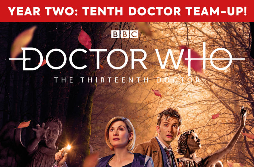 In 2020, the Tenth and Thirteenth Doctors join forces to fight the Weeping Angels in the first issue of The Thirteenth Doctor: Year 2! (Image Courtesy: Titans Comics.)