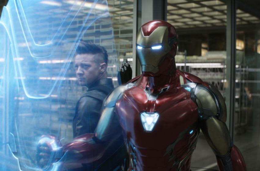 Marvel Studios' AVENGERS: ENDGAME..L to R: Hawkeye (Jeremy Renner) and Iron Man (Robert Downey Jr.)..Photo: Film Frame..©Marvel Studios 2019