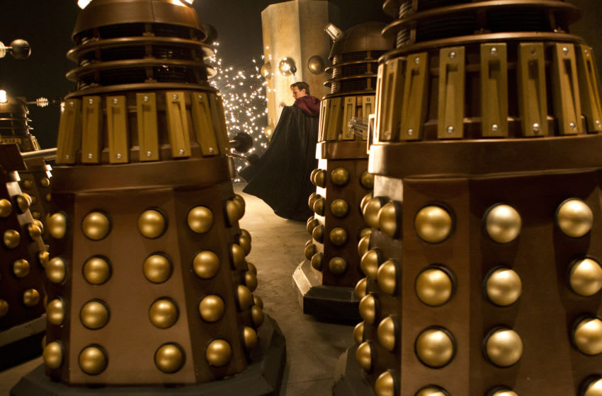 (Matt Smith) and Daleks. Courtesy Adrian Rogers, BBC