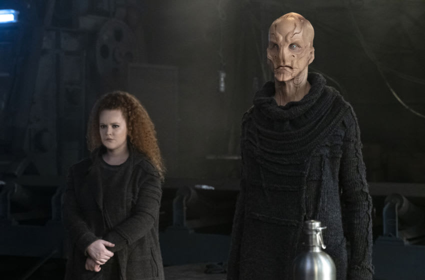 Pictured (l-r): Mary Wiseman as Tilly and Doug Jones as Saru; of the the CBS All Access series STAR TREK: DISCOVERY. Photo Cr: Michael Gibson/CBS ©2020 CBS Interactive, Inc. All Rights Reserved.