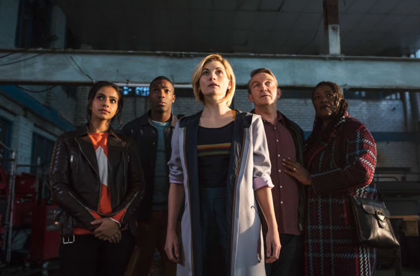 Picture shows: Yasmin Khan (MANDIP GILL), Ryan Sinclair (TOSIN COLE), The Doctor (JODIE WHITTAKER), Graham O'Brien (BRADLEY WALSH), Grace (SHARON D CLARKE)