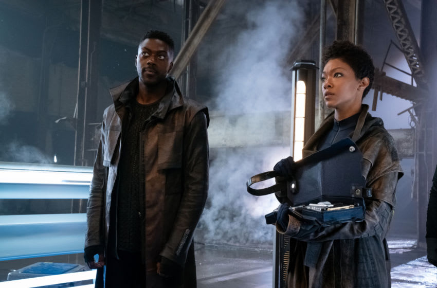Pictured (L-R): David Ajala as Book and Sonequa Martin-Green as Burnham; of the CBS All Access series STAR TREK: DISCOVERY. Photo Cr: Michael Gibson/CBS ©2020 CBS Interactive, Inc. All Rights Reserved.