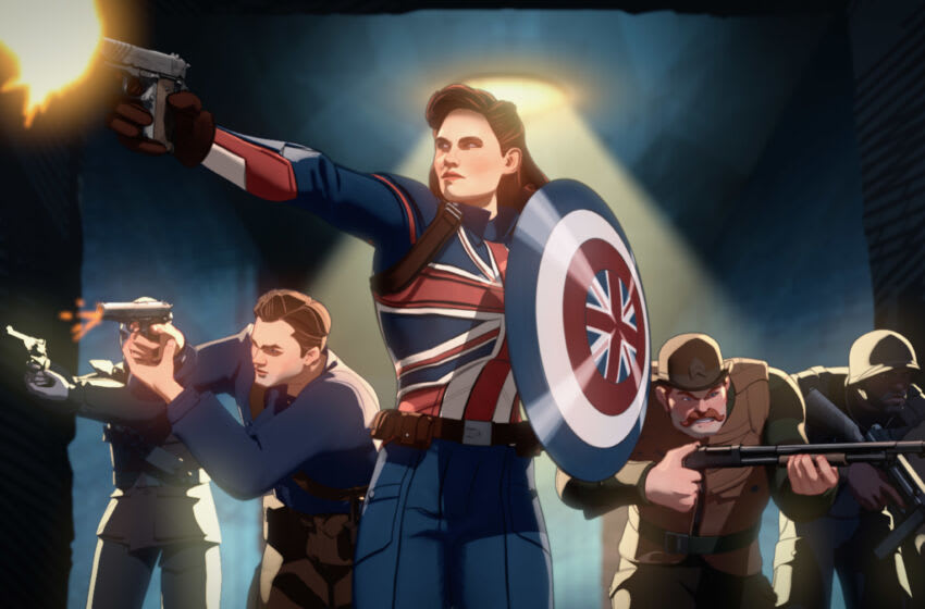 Captain Carter (center) and the Howling Commandos in Marvel Studios' WHAT IF...? exclusively on Disney+. © Marvel Studios 2021. All Rights Reserved.