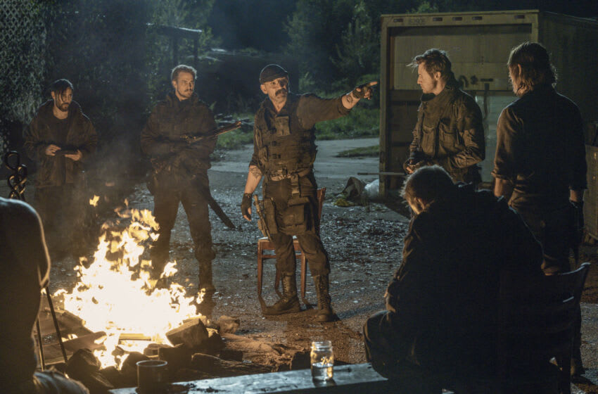 Norman Reedus as Daryl Dixon, Ritchie Coster as Pope, Eric LeBlanc as Powell, Michael Shenefelt as Bossie, Ethan McDowell as Washington in The Walking Dead Season 11, Episode 4 - Photo Credit: Josh Stringer/AMC