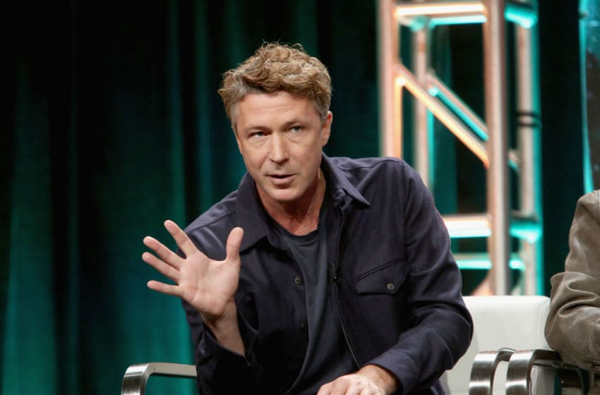 LOS ANGELES, CA - JULY 26: Actor Aidan Gillen of 'Project Blue Book' speaks onstage during The 2018 Summer Television Critics Association Press Tour on July 26, 2018 in Los Angeles, California. (Photo by Jesse Grant/Getty Images for A+E Networks )