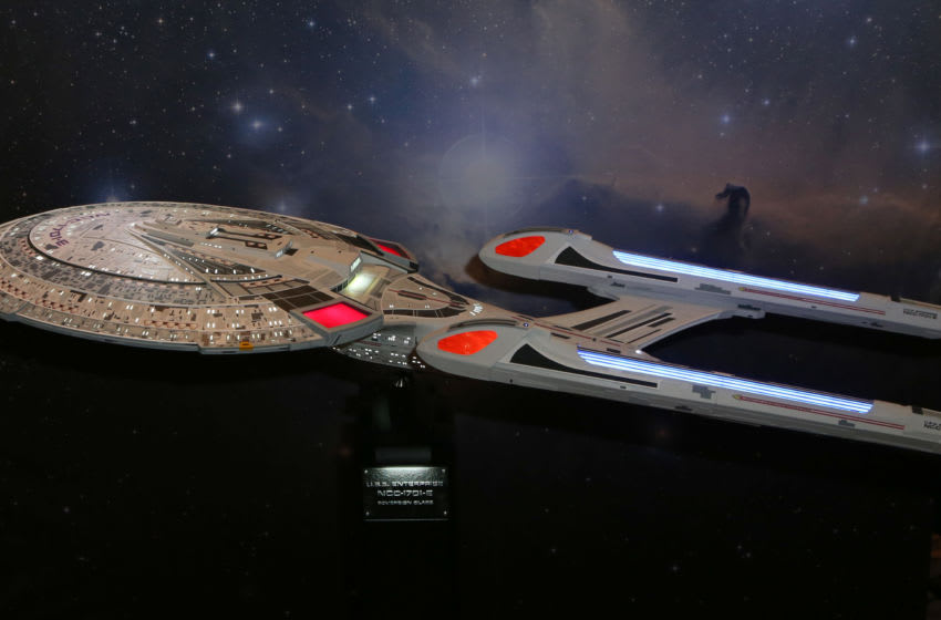 LAS VEGAS, NEVADA - JULY 31: A 1:300 scale scratch model of the U.S.S. Enterprise 1701 E starship is displayed during the 18th annual Official Star Trek Convention at the Rio Hotel & Casino on July 31, 2019 in Las Vegas, Nevada. (Photo by Gabe Ginsberg/Getty Images)