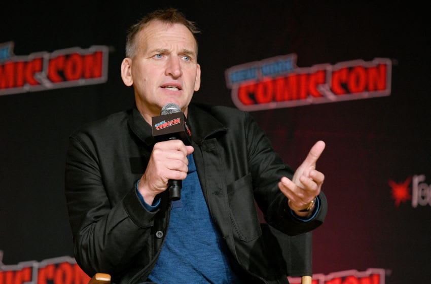 NEW YORK, NEW YORK - OCTOBER 03: Christopher Eccleston speaks on stage during Fantastic! A Conversation with Christopher Eccleston at the New York Comic Con at Jacob K. Javits Convention Center on October 03, 2019 in New York City. (Photo by Bryan Bedder/Getty Images for ReedPOP)