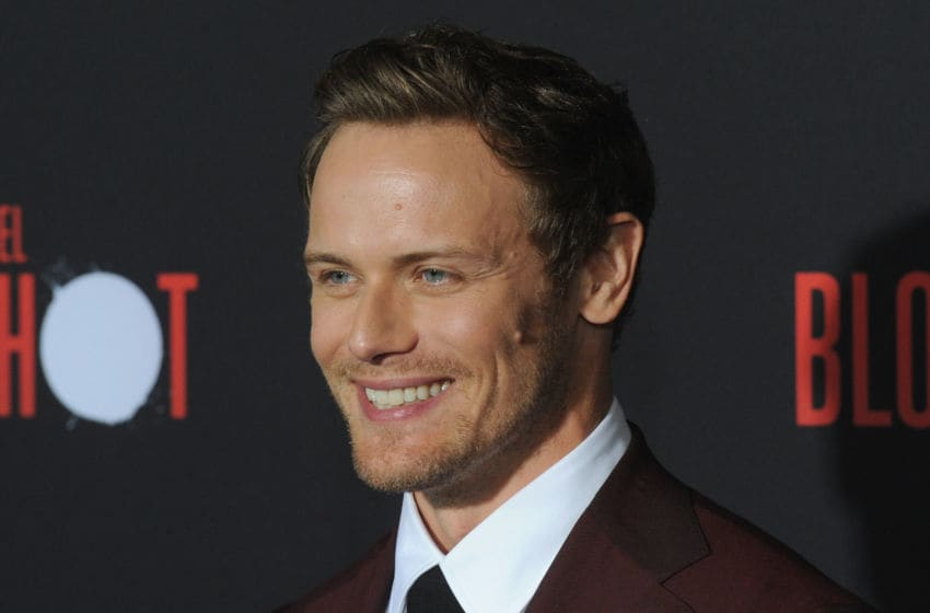 LOS ANGELES, CA - MARCH 10: Sam Heughan arrives for the Premiere Of Sony Pictures'