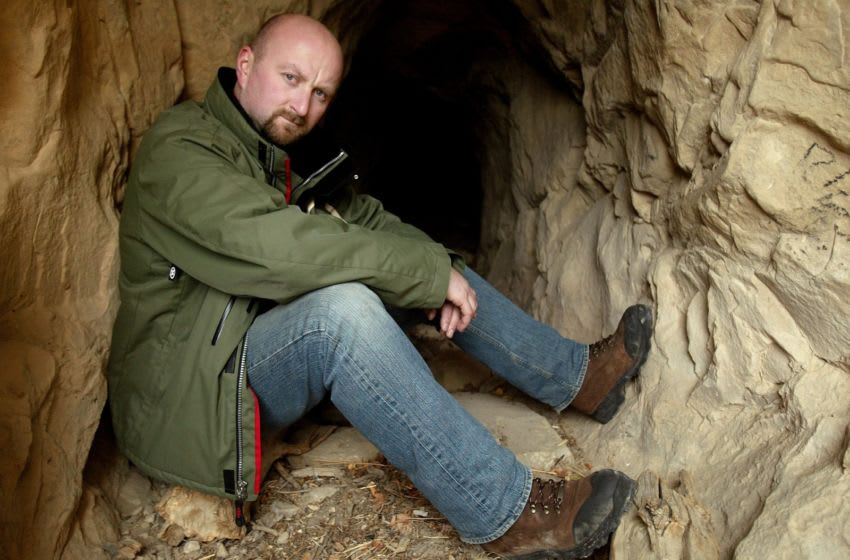 PARK CITY, UT - JANUARY 25: Director Neil Marshall poses for portraits outside a cave entrance during the 2006 Sundance Film Festival January 25, 2006 in Coalville, Utah. (Photo by Peter Kramer/Getty Images)