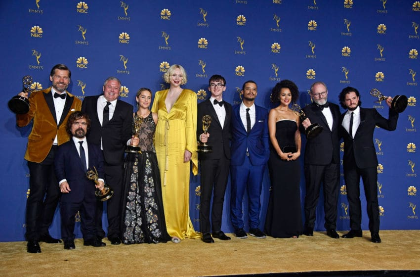 LOS ANGELES, CA - SEPTEMBER 17: Cast of Outstanding Drama Series winner 'Game of Thrones' poses in the press room during the 70th Emmy Awards at Microsoft Theater on September 17, 2018 in Los Angeles, California. (Photo by Frazer Harrison/Getty Images)