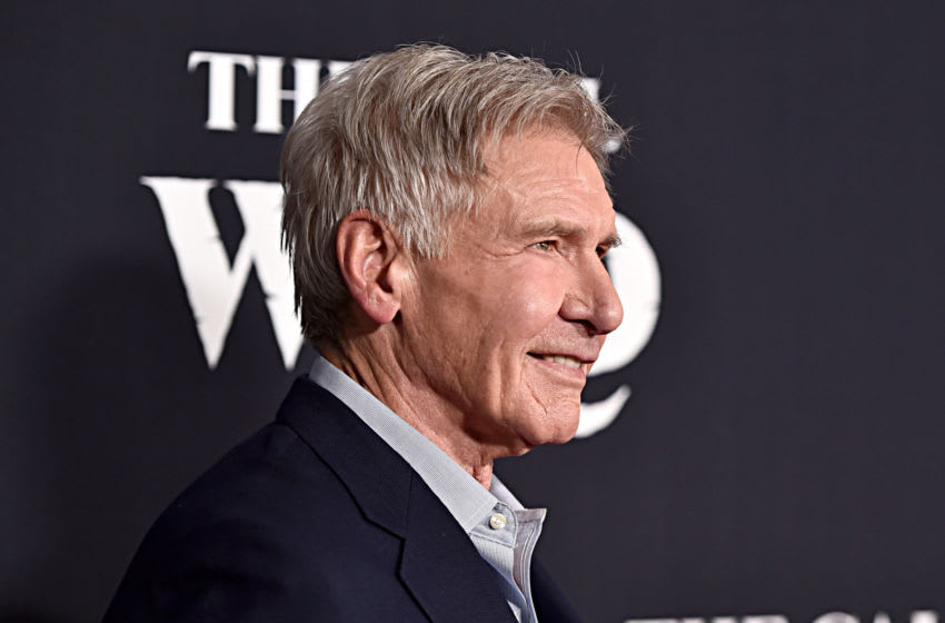 HOLLYWOOD, CALIFORNIA - FEBRUARY 13: Harrison Ford arrives at the World Premiere of 20th Century Studios'