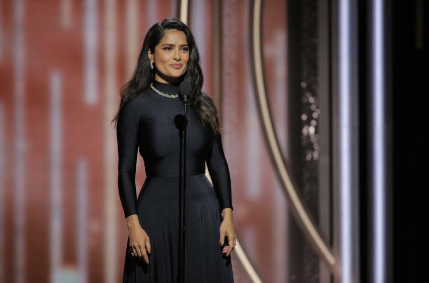 Jan 7, 2018; Beverly Hills, CA, USA; Salma Hayek Pinault presents during the 75th Golden Globe Awards at the Beverly Hilton. Mandatory Credit: Paul Drinkwater/NBC Handout via USA TODAY NETWORK