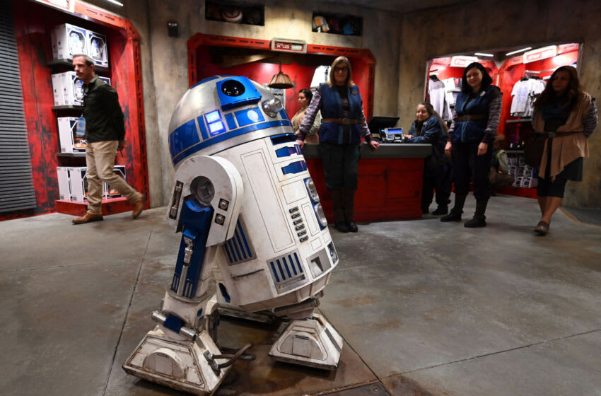 May 29, 2019; Anaheim, CA, USA; R2-D2 rolls through Droid Depot during an exclusive first look during a media visit to the new Star Wars: Galaxy's Edge on May 29, 2019 at Disneyland Resort. Mandatory Credit: Robert Hanashiro-USA TODAY