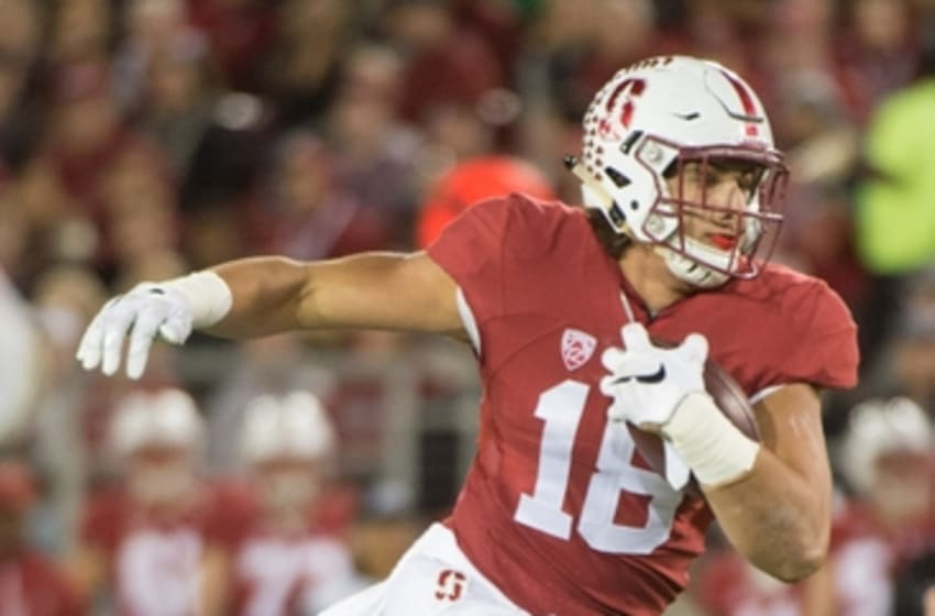 November 14, 2015; Stanford, CA, USA; Stanford Cardinal tight end Austin Hooper (18) runs with the football during the second quarter against the Oregon Ducks at Stanford Stadium. The Ducks defeated the Cardinal 38-36. Mandatory Credit: Kyle Terada-USA TODAY Sports