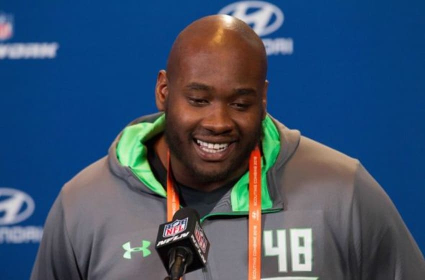 Feb 24, 2016; Indianapolis, IN, USA; Mississippi offensive lineman Laremy Tunsil speaks to the media during the 2016 NFL Scouting Combine at Lucas Oil Stadium. Mandatory Credit: Trevor Ruszkowski-USA TODAY Sports