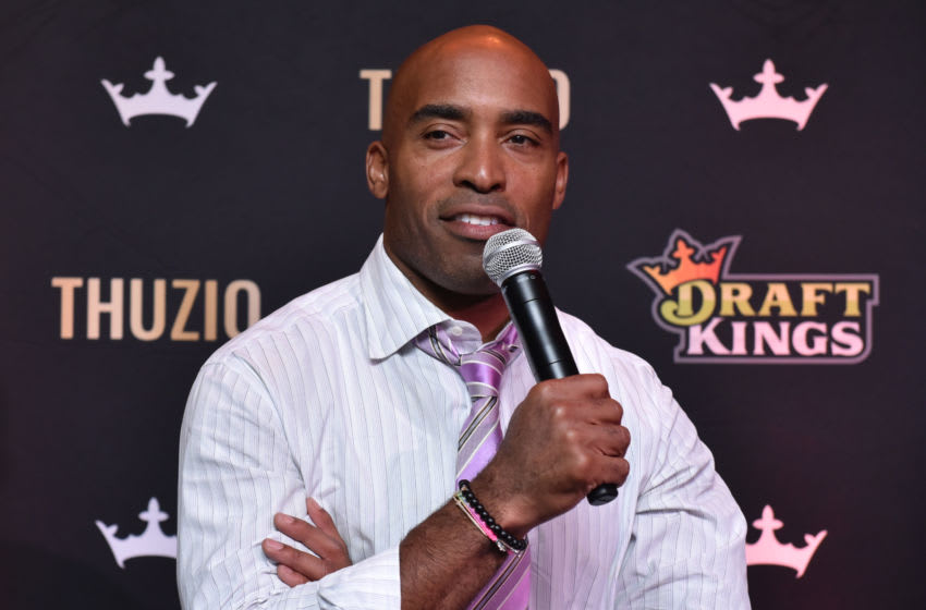 HOBOKEN, NJ - SEPTEMBER 09: Football running back Tiki Barber attends DraftKings Kickoff Bash 2018 at Pilsener Haus & Biergarten on September 9, 2018 in Hoboken City. (Photo by Sean Zanni/Getty Images for DraftKings)
