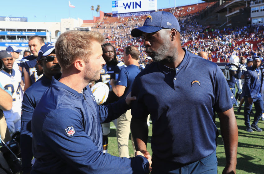 LOS ANGELES, CA - SEPTEMBER 23: Head coach Sean McVay of the Los Angeles Rams is congratulated by head coach Anthony Lynn of the Los Angeles Chargers after the Rams defeated the Chargers 35-23 at Los Angeles Memorial Coliseum on September 23, 2018 in Los Angeles, California. (Photo by Sean M. Haffey/Getty Images)